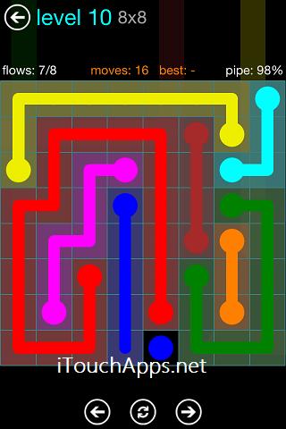 Flow Blue Pack 8 x 8 Level 10 Solution