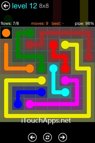 Flow Blue Pack 8 x 8 Level 12 Solution