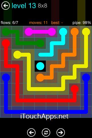 Flow Blue Pack 8 x 8 Level 13 Solution
