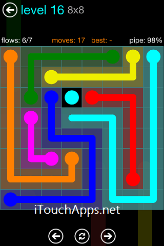 Flow Blue Pack 8 x 8 Level 16 Solution