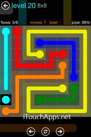 Flow Blue Pack 8 x 8 Level 20 Solution
