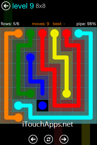 Flow Blue Pack 8 x 8 Level 9 Solution