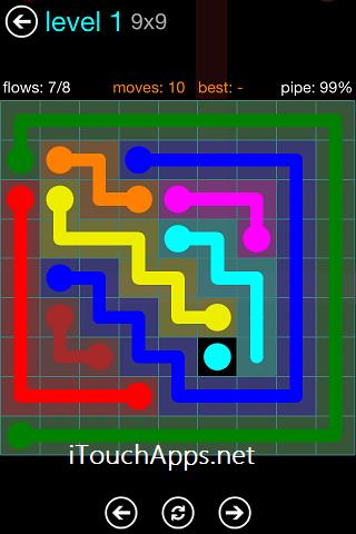 Flow Blue Pack 9 x 9 Level 1 Solution