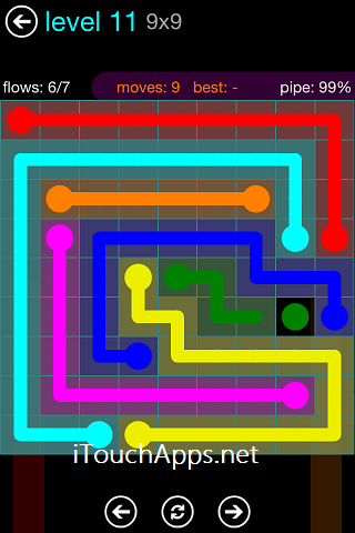 Flow Blue Pack 9 x 9 Level 11 Solution