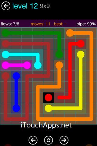 Flow Blue Pack 9 x 9 Level 12 Solution