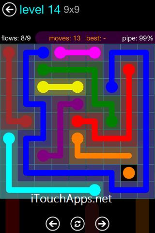 Flow Blue Pack 9 x 9 Level 14 Solution