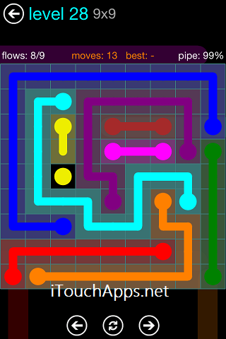 Flow Blue Pack 9 x 9 Level 28 Solution