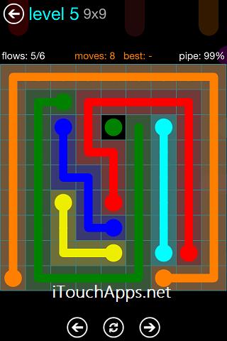 Flow Blue Pack 9 x 9 Level 5 Solution