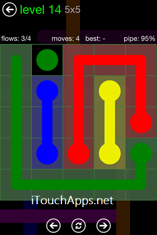 Flow Green Pack 5 x 5 Level 14 Solution
