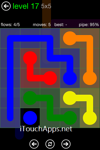 Flow Green Pack 5 x 5 Level 17 Solution