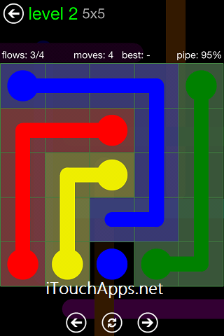 Flow Green Pack 5 x 5 Level 2 Solution