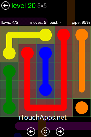 Flow Green Pack 5 x 5 Level 20 Solution