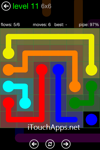 Flow Green Pack 6 x 6 Level 11 Solution