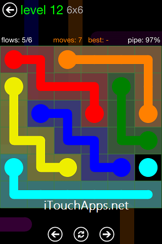 Flow Green Pack 6 x 6 Level 12 Solution