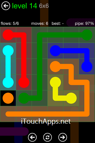 Flow Green Pack 6 x 6 Level 14 Solution