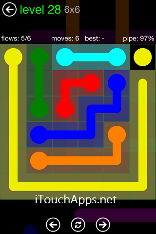 Flow Green Pack 6 x 6 Level 28 Solution