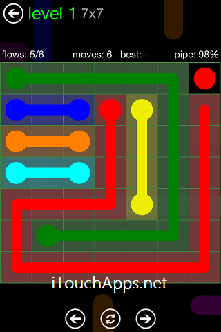 Flow Green Pack 7 x 7 Level 1 Solution