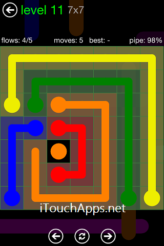 Flow Green Pack 7 x 7 Level 11 Solution