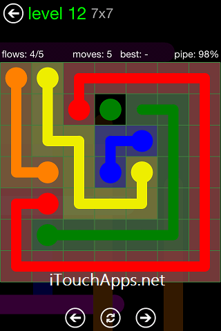Flow Green Pack 7 x 7 Level 12 Solution
