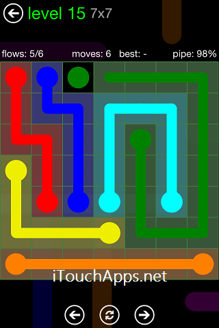 Flow Green Pack 7 x 7 Level 15 Solution