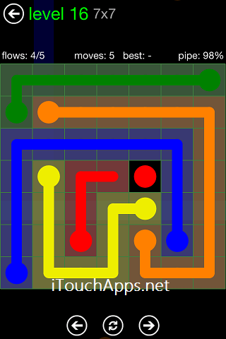Flow Green Pack 7 x 7 Level 16 Solution