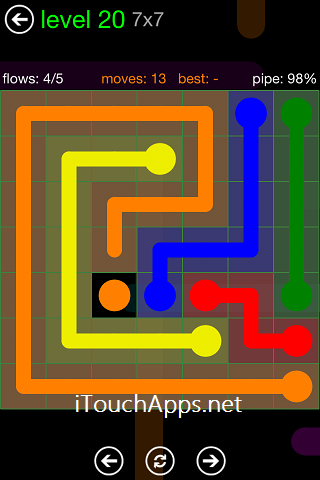 Flow Green Pack 7 x 7 Level 20 Solution