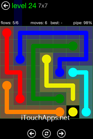 Flow Green Pack 7 x 7 Level 24 Solution