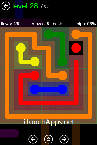 Flow Green Pack 7 x 7 Level 28 Solution