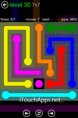Flow Green Pack 7 x 7 Level 30 Solution