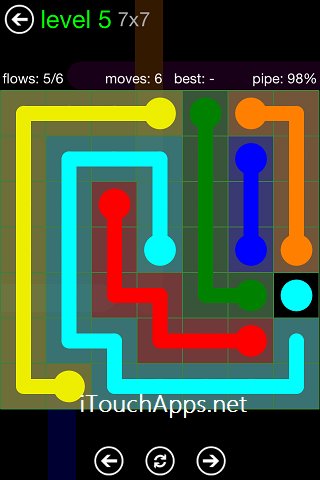 Flow Green Pack 7 x 7 Level 5 Solution