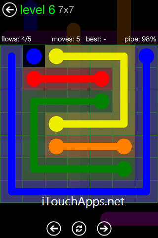Flow Green Pack 7 x 7 Level 6 Solution