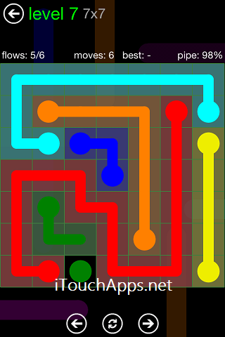 Flow Green Pack 7 x 7 Level 7 Solution