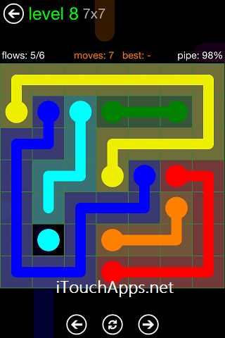 Flow Green Pack 7 x 7 Level 8 Solution