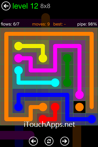 Flow Green Pack 8 x 8 Level 12 Solution