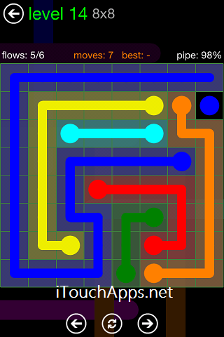 Flow Green Pack 8 x 8 Level 14 Solution