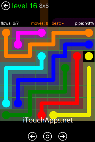 Flow Green Pack 8 x 8 Level 16 Solution
