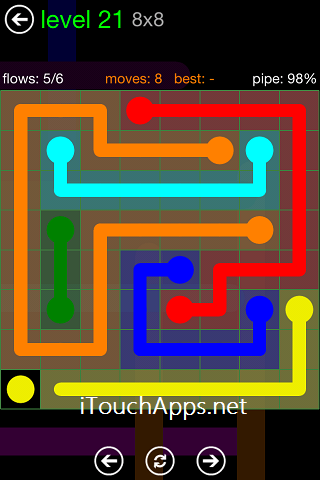 Flow Green Pack 8 x 8 Level 21 Solution