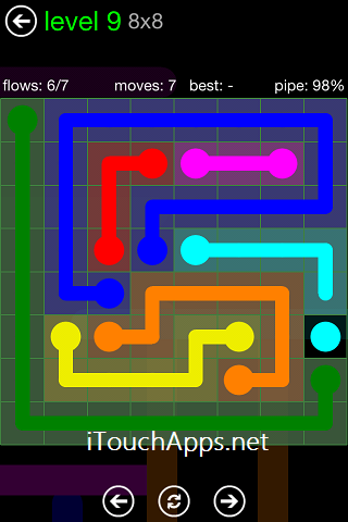 Flow Green Pack 8 x 8 Level 9 Solution