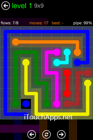 Flow Green Pack 9 x 9 Level 1 Solution