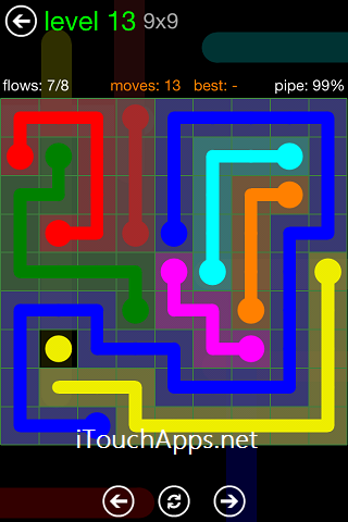 Flow Green Pack 9 x 9 Level 13 Solution