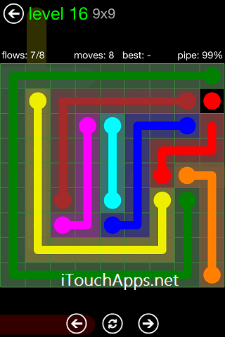 Flow Green Pack 9 x 9 Level 16 Solution