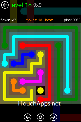 Flow Green Pack 9 x 9 Level 18 Solution