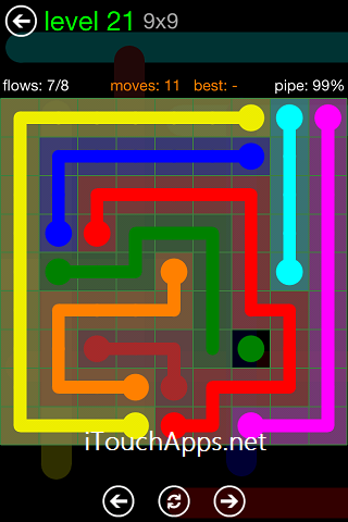 Flow Green Pack 9 x 9 Level 21 Solution