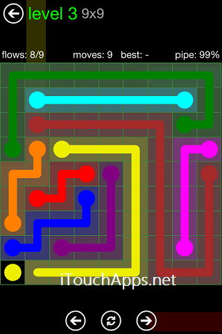 Flow Green Pack 9 x 9 Level 3 Solution