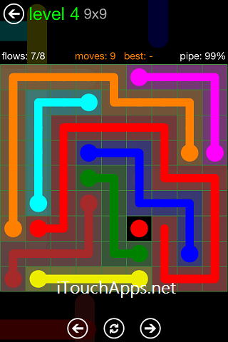 Flow Green Pack 9 x 9 Level 4 Solution