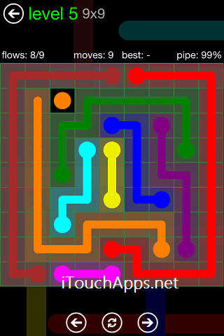 Flow Green Pack 9 x 9 Level 5 Solution
