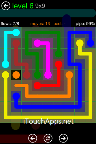 Flow Green Pack 9 x 9 Level 6 Solution