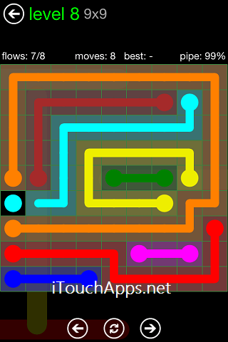 Flow Green Pack 9 x 9 Level 8 Solution