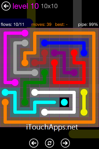 Flow Purple Pack 10 x 10 Level 10 Solution