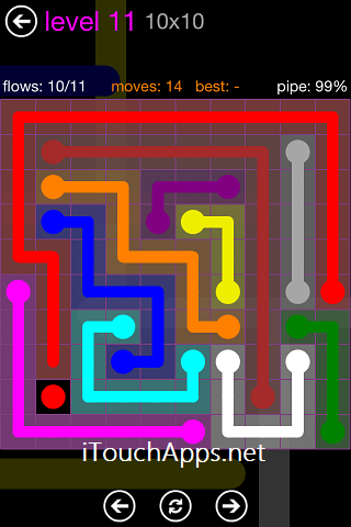 Flow Purple Pack 10 x 10 Level 11 Solution